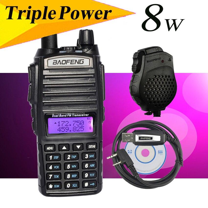 Populaire Style Baofeng UV-82 8 W Portable dual band radio HF émetteur-récepteur double affichage radio communicateur UV-82HX talkie walkie set