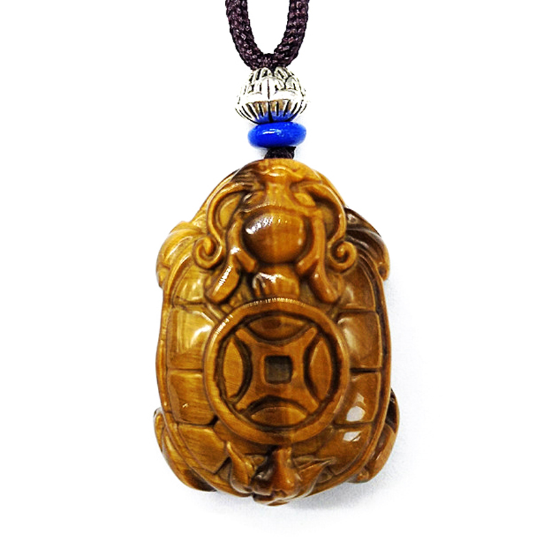 QIANXU Natural Tiger Eye Dragon Turtle Necklace Pendant Jade Pendant Transfer Lucky Jewelry With Chain Jade Jewelry