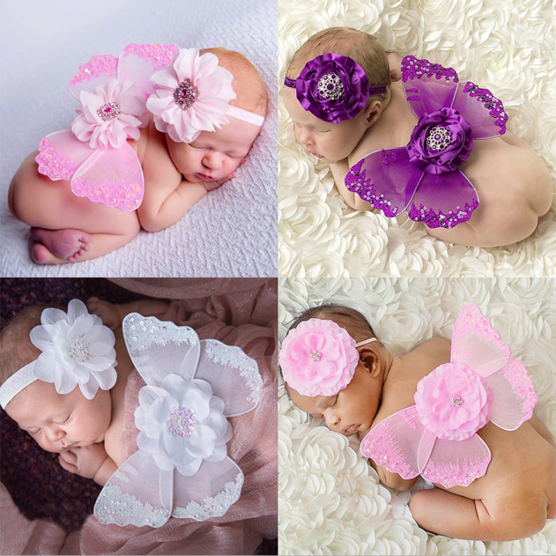 Newborn Baby Cute Feather Angel Butterfly Wings With Big Flower Hairband Photography Props Set Baby Clothing Accessories