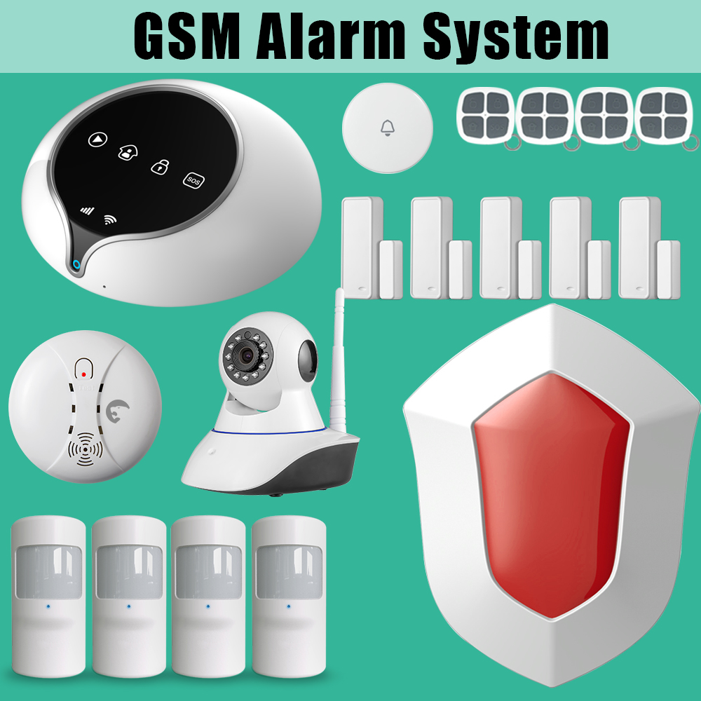 GSM WIFI Burglar Alarm Intruder System For Home Office+wifi Camera easy operation can suit for home цена и фото