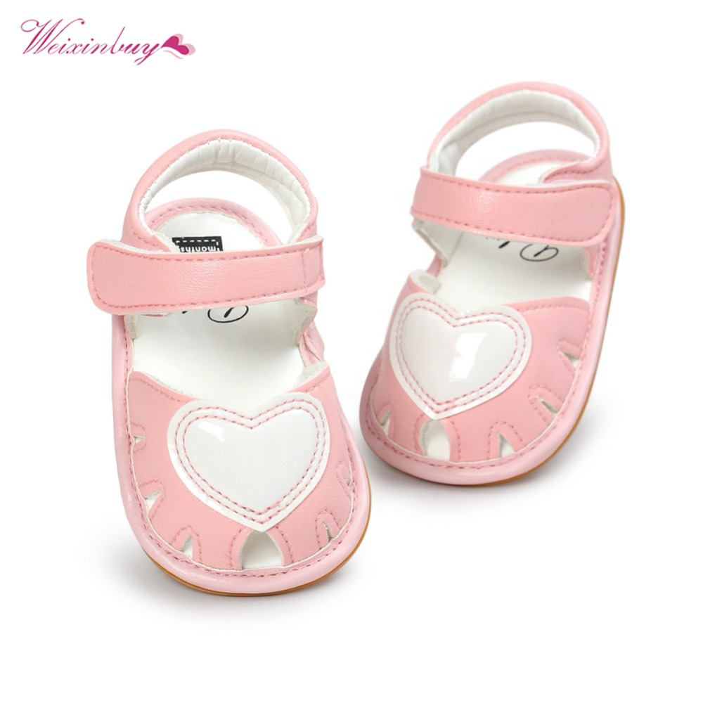 WEIXINBUY Cute Lovely Baby Baby Clogs Cute Soft Bottom Non-slip Baby Princess Shoes Baby Girls Love Kids Shoes New
