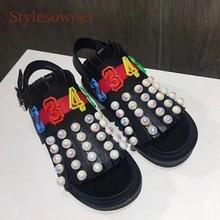 Stylesowner Stylish Summer Sandal Shoe Black Gold Leather Roman Sandalias Pearls Fringe Tassel Open Toe Flat Platform Sandal