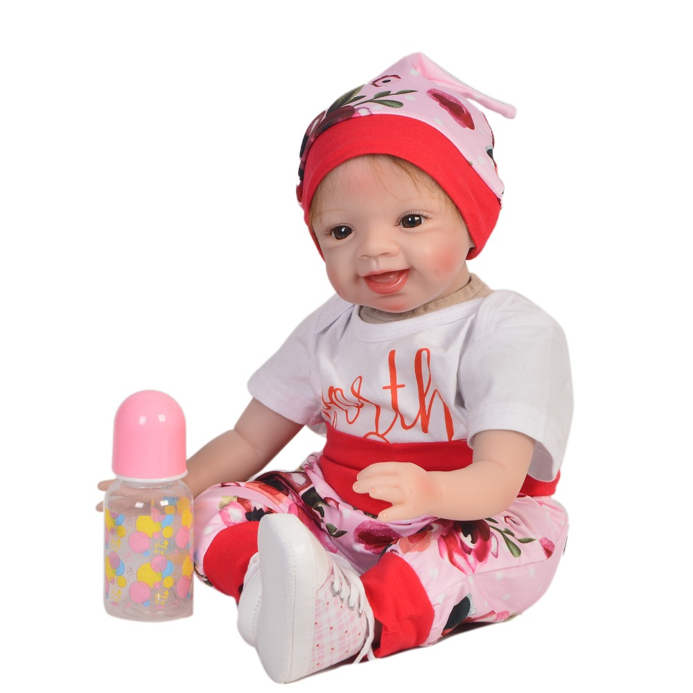 KEIUMI 2018 New Style DIY Toys Soft Silicone Reborn Baby Dolls 55 cm Baby Girl Playmates Lifelike 22'' Doll Baby Alive Dolls lovely lifelike 55 cm reborn baby doll with flower clothes soft silicone fashion dolls hair rooted reborn baby kits playmates