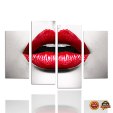 4 Panels Red Lip Canvas Painting Hot Woman Wearing Red Lipstick Wall Picture Art Decor for
