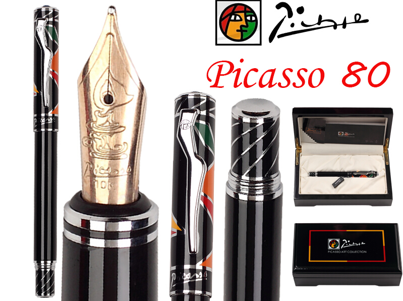 Fountain Pen Black M 10 K Solid Gold Nib Picasso 80 Executive Signature NIB Stationery Free Shipping 8pcs lot wholesale fountain pen black m 14 k solid gold nib or rollerball pen picasso 89 big executive stationery free shipping