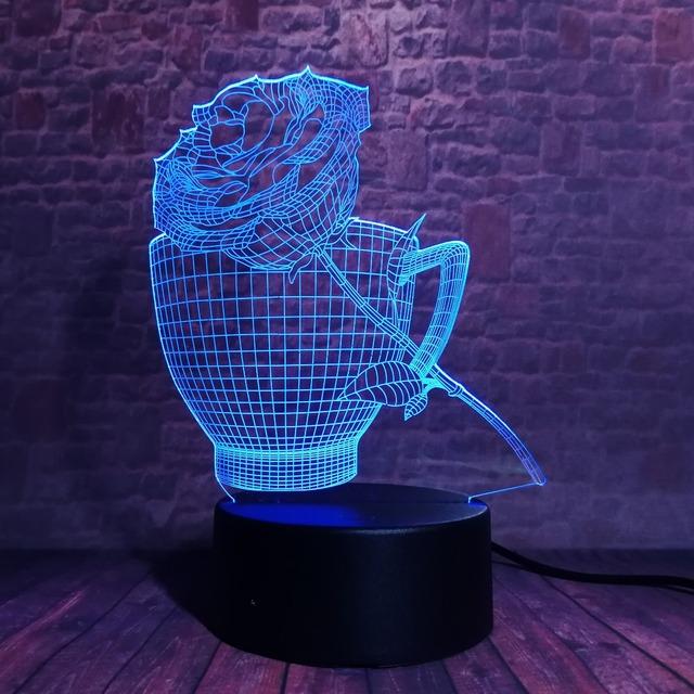 3D LED Hologram – Nočné svetlo – Rose & Cup