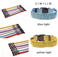 Fashion Leopard Led Nylon Pet Dog Collar Flashing LED Lighting Safety LED Pet Collar Spots Luminous Festival Pet Products