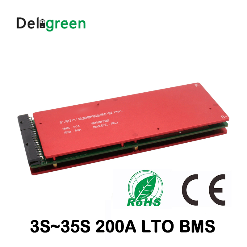 High quality 3S 5S 10S 15S 20S 25S 30S 35S 200A bms with Balance for LTO 2.4V battery pack 18650 lithium titanate battery lto battery bms 5s 12v 80a 100a 200a lithium titanate battery circuit protection board bms pcm for lto battery pack same port