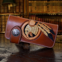 OLG YAT Men Wallets Women Purse Italian Vegetable Tanned Leather Handmade Wallets Hand Carved White Eagle