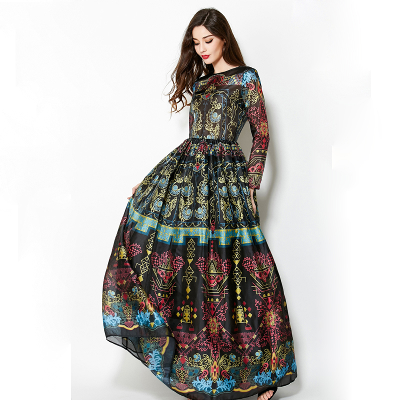 Vintage 2018 Winter Long Sleeves Elegant Empire Ball Gown Temperamental Slim Retro Print Floor-Length Dress Women Maxi