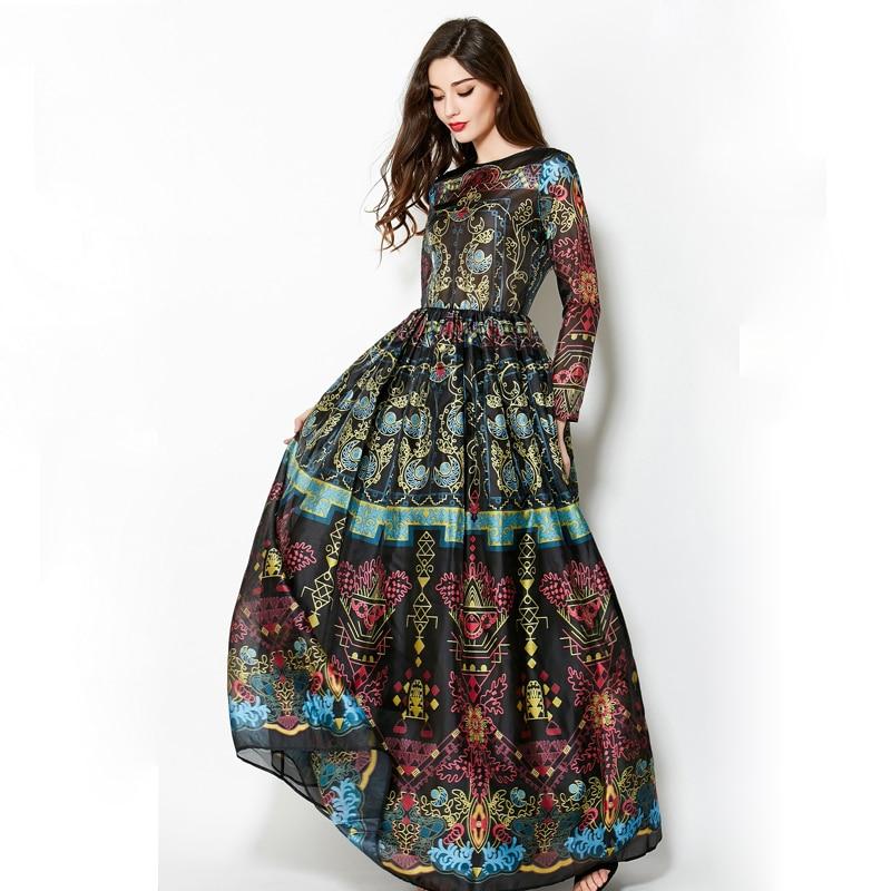 Vintage 2018 Hiver Manches Longues Élégant Empire robe de Bal Capricieux Slim Rétro Imprimer Parole Longueur Robe Femmes Maxi