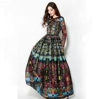 Vintage 2018 Winter Long Sleeves Elegant Empire Ball Gown Temperamental Slim Retro Print Floor Length Dress Women Maxi