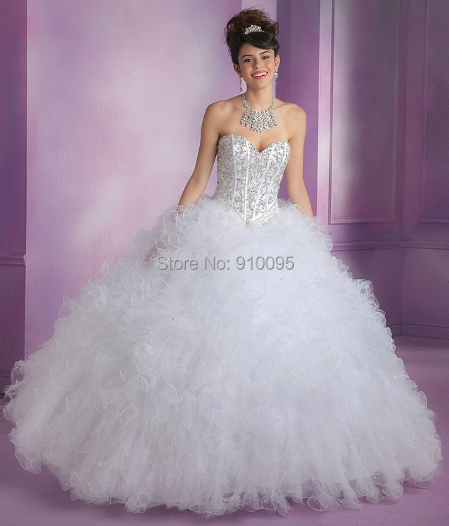 Aliexpress.com : Buy White Puffy Quinceanera Dresses Debutante ...