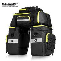 Rhinowalk 75l mtb saco de portador de bicicleta rack traseiro saco de bagagem tronco pannier 3 em 1 ciclismo dupla lateral sacos de assento traseiro