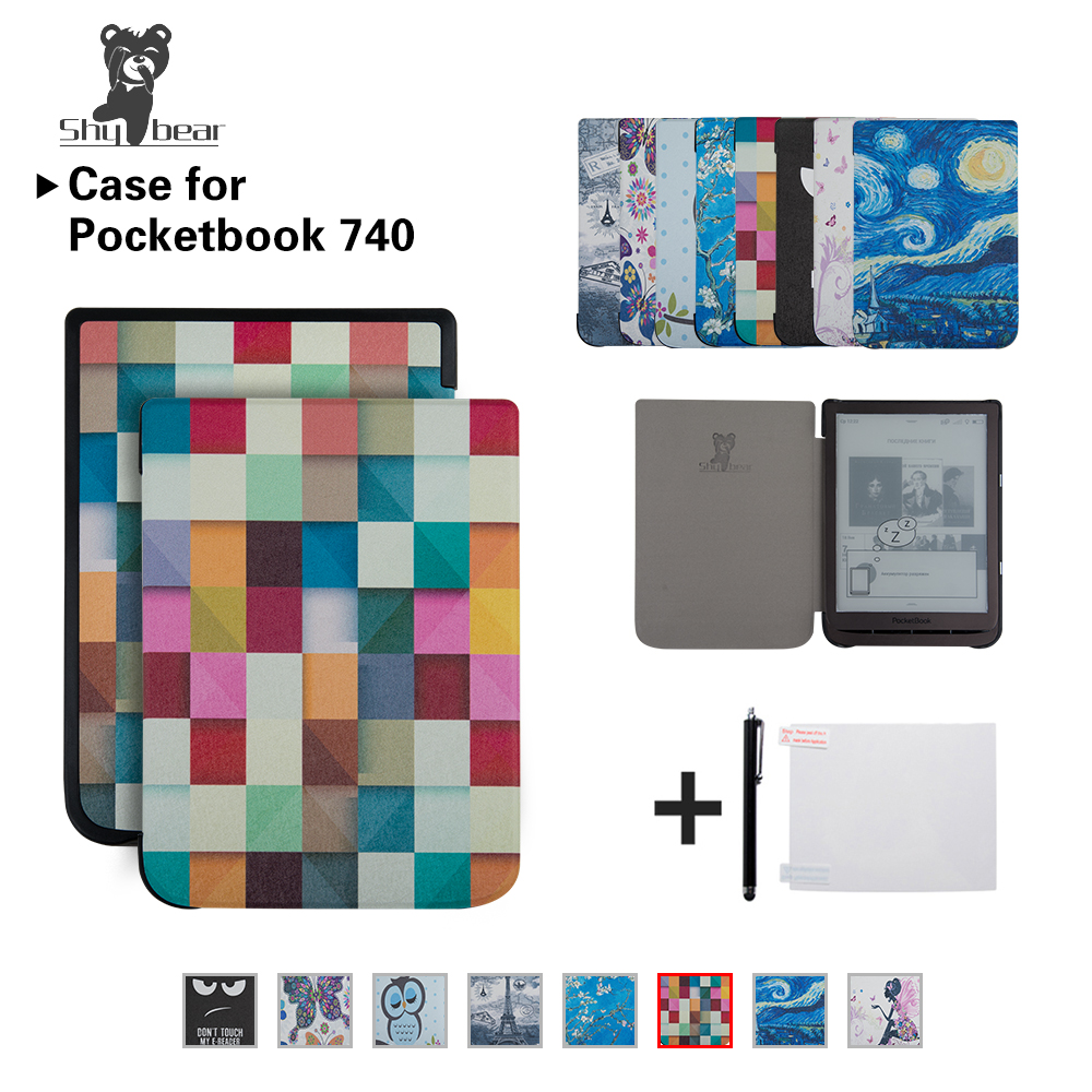 Case for PocketBook 740 7.8 inch InkPad 3 E-Book Auto/wake Tablet Cover case + Gifts cover case for pocketbook 740 7 8 inch e book 740 inkpad 3 smart protective shell tablet case gifts