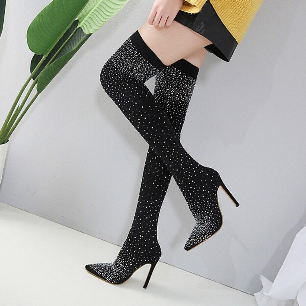 Chaussures De Alto Tacón Drill La Invierno Elástico Sexy Sobre Mujer Rodilla Black Zapatos Largo Botas C OwH0d8Oxq
