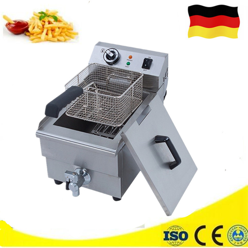 10L Commercial Countertop Deep Fat Fryer Potato Chips Fryer Chicken Frying Machine with Thermostat shipule fast food restaurant 30l commercial electric chicken deep fryer commercial potato chips deep fryer frying machine