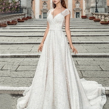 Silky Organza A-line Wedding Dress 2019 V-neck backless