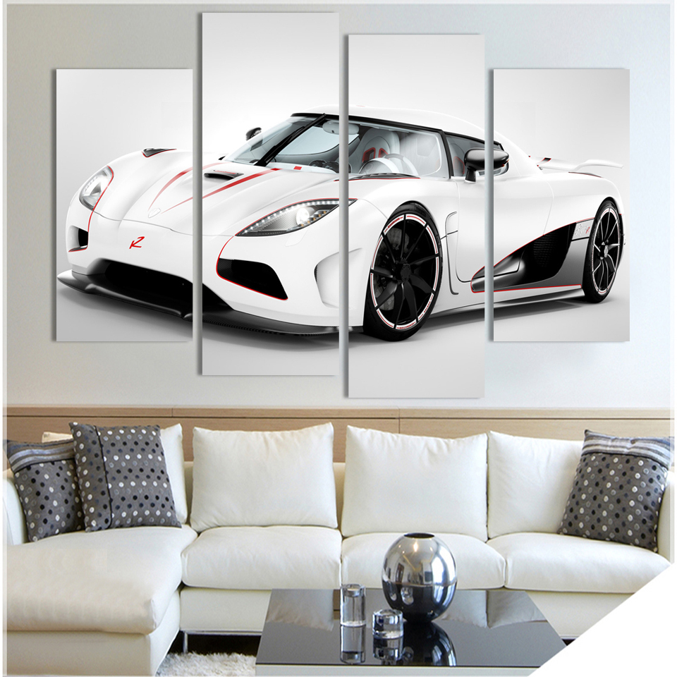 4 Pcs White Sports Car Art Home decor Decoration Living Room Print oil painting on Canvas Wall picture F264 no frame wholesale