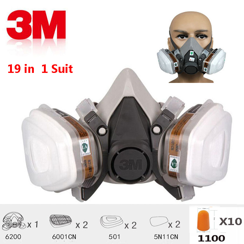3M 6200 Half Face 19 In 1 Suit Gas Mask Spraying Painting N95 PM2.5 Respirator Dust Mask With 1100 Anti-noise Earplugs 3m 6200 half face gas mask 7 in 1 suit industry painting spraying 6200 n95 pm2 5 safety anti dust respirator mask