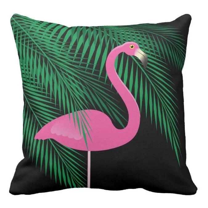 tropical black pink flamingo cushion cover green plant flamingo throw pillow case modern fashion flamingo decoration gift 18