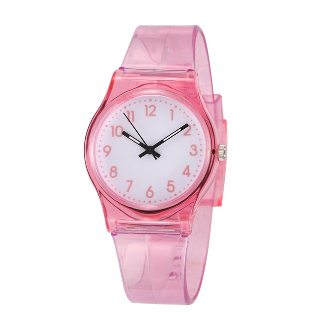 2018 Hot Sales Lovely Transparent Pink Children Watch Kids Watches Silicone Stud