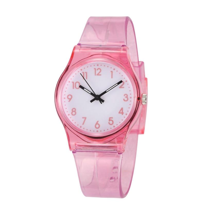 2019 Hot Sales Lovely Transparent Pink Children Watch Kids Watches Silicone Student Boys Girls Wristwatch Clock Montre Enfant