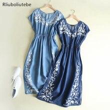 Embroidery Denim Long Dress Women High Waist Light Blue V Neck Short Sleeve Empire Long Summer Jeans Elegant Dress Vestido Mujer