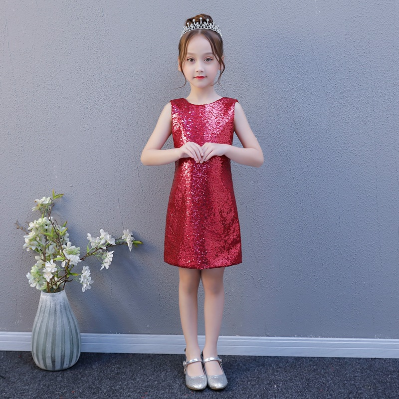 Sequined Princess Dress Sleeveless Knee Length Party Gowns Straight Backless Kids Pageant Dress for Birthday Costume K64 цена 2017