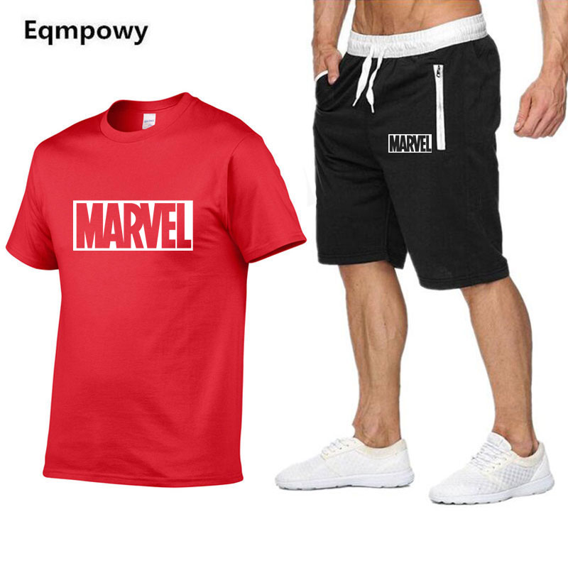 2019 New Men   T     Shirt   Sets Marvel Printed Summer Suits Casual Tshirt Men Tracksuits Set Male   T  -  shirt   fashion Clothing