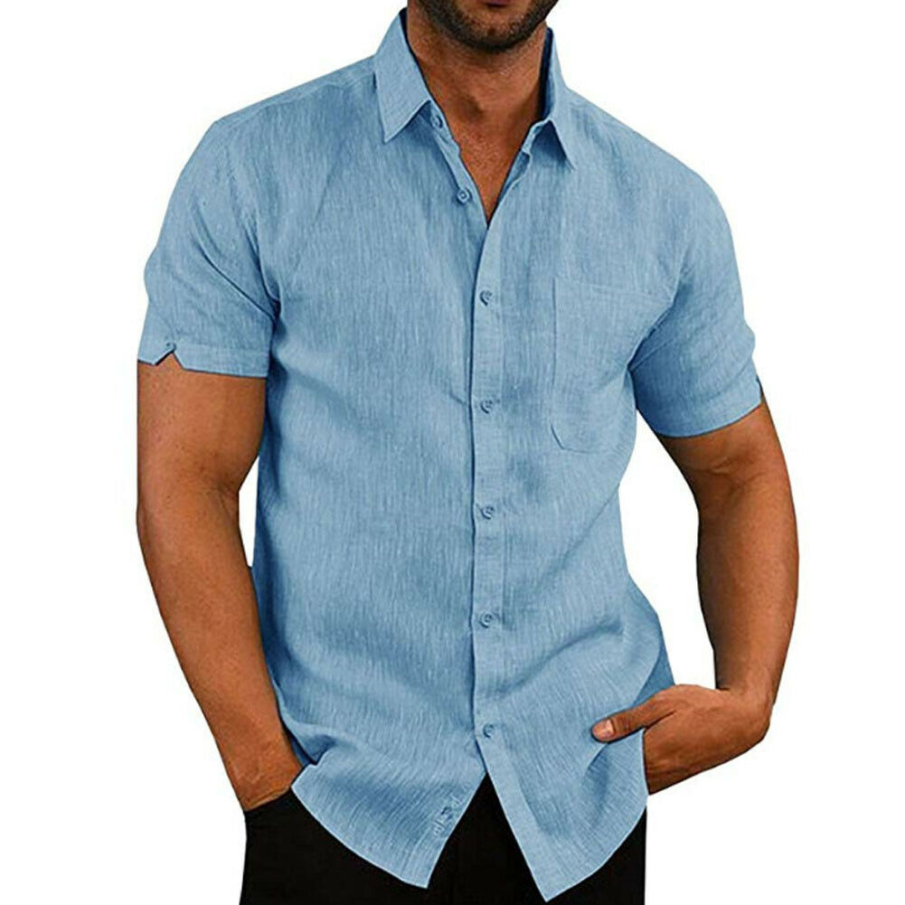 Men Shirt Slim Fit Short Sleeve Cotton Linen Casual Shirt Top Summer Solid Slim Tops