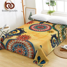 BeddingOutlet Kaleidoscope Bed Sheets Bohemian Flat Sheet Mandala Flowers Bed Linen Red Green Blue Ethnic Bedspreads Queen 1pc(China)