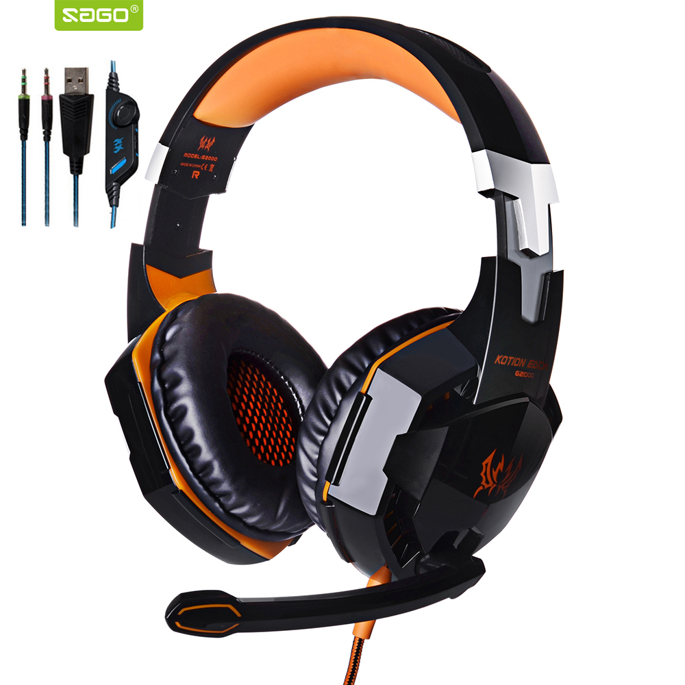 Original KOTION EACH G2000 Gaming Headset Earphone Headband Stereo Headphones with Mic LED Light deep bass for PC Gamer RU Stock купить в Москве 2019