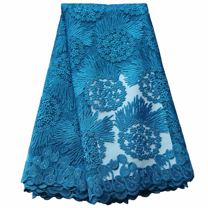 Image 4 - African Lace Fabric 5 yards High Quality Guipure Lace Tulle French Embroidered Mesh Lace Fabric Gold White Blue Wedding Party-in Lace from Home & Garden