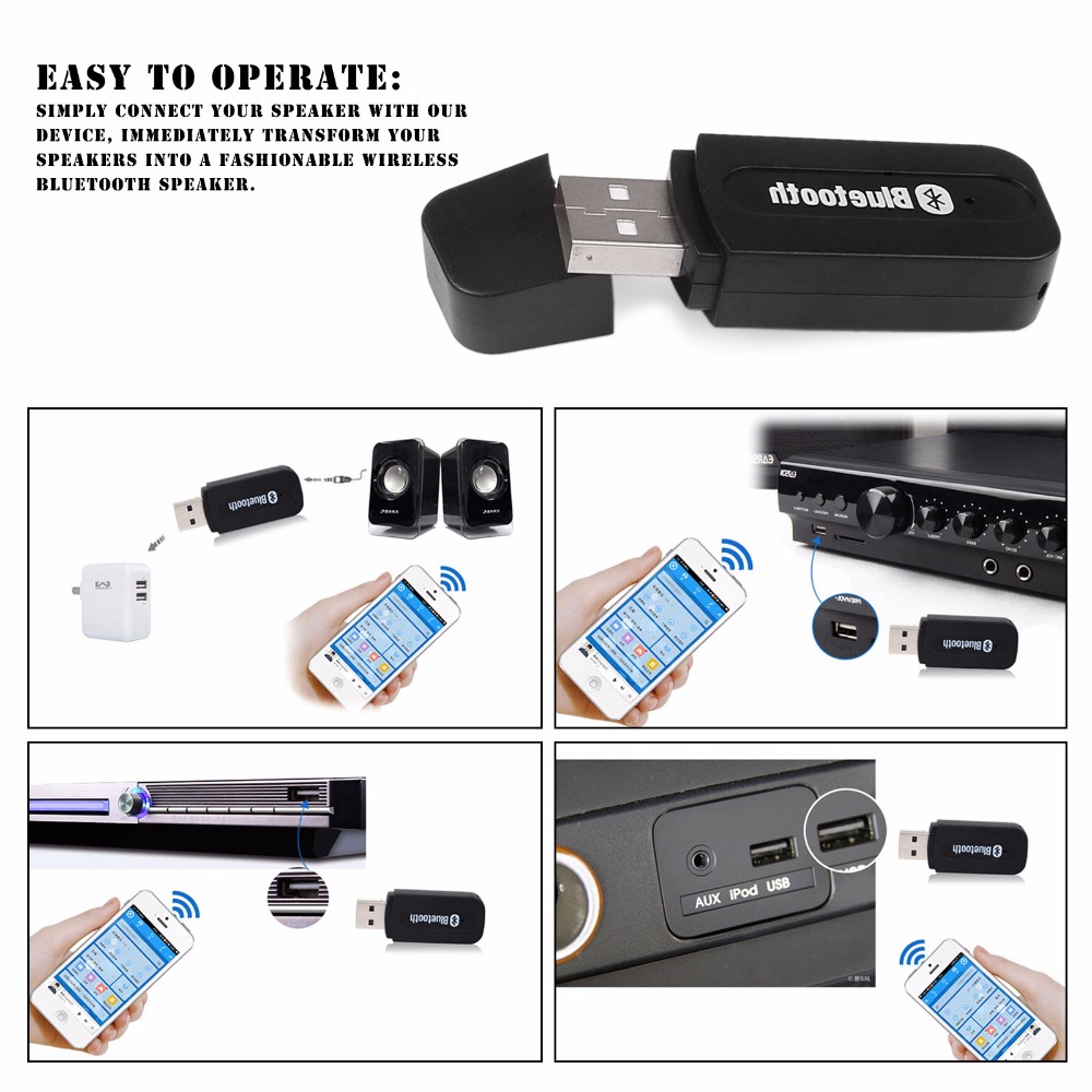 3 5mm Car Usb Wireless Bluetooth Music Receiver Adapter Auto Aux Streaming A2dp Kit For Speaker: 3.5MM Car USB Wireless Bluetooth Music Receiver Adapter Auto AUX Streaming A2DP Kit For