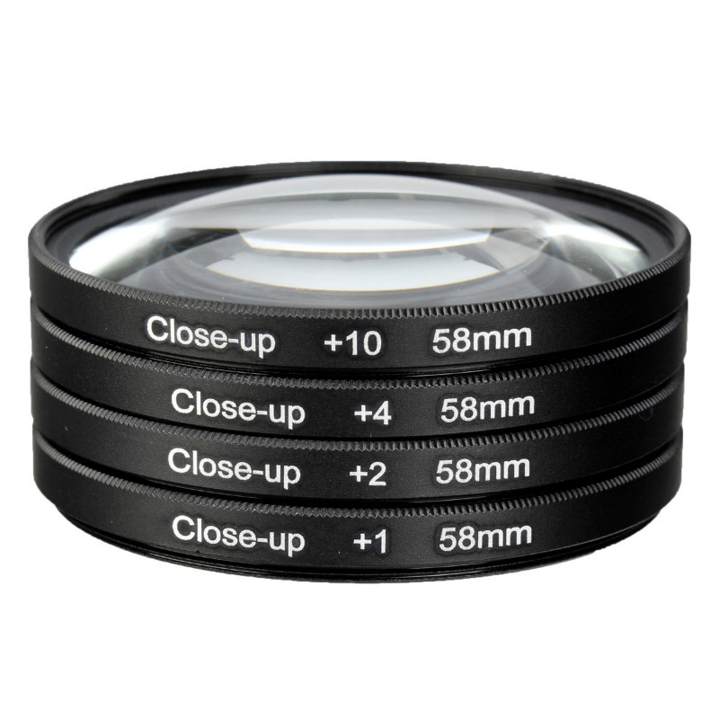 Camera 58mm Macro Close Up Filter Lens Kit +1 +2 +4 +10 for Canon EOS 700D 650D 600D 550D 500D1200D 1100D 100D Rebel T5i T4i Len 58mm wide angle fisheye camera lens 0 35x with a macro lens for canon eos 700d 650d 600d 550d 1100d rebel t5i t4i t3i t3 t2i