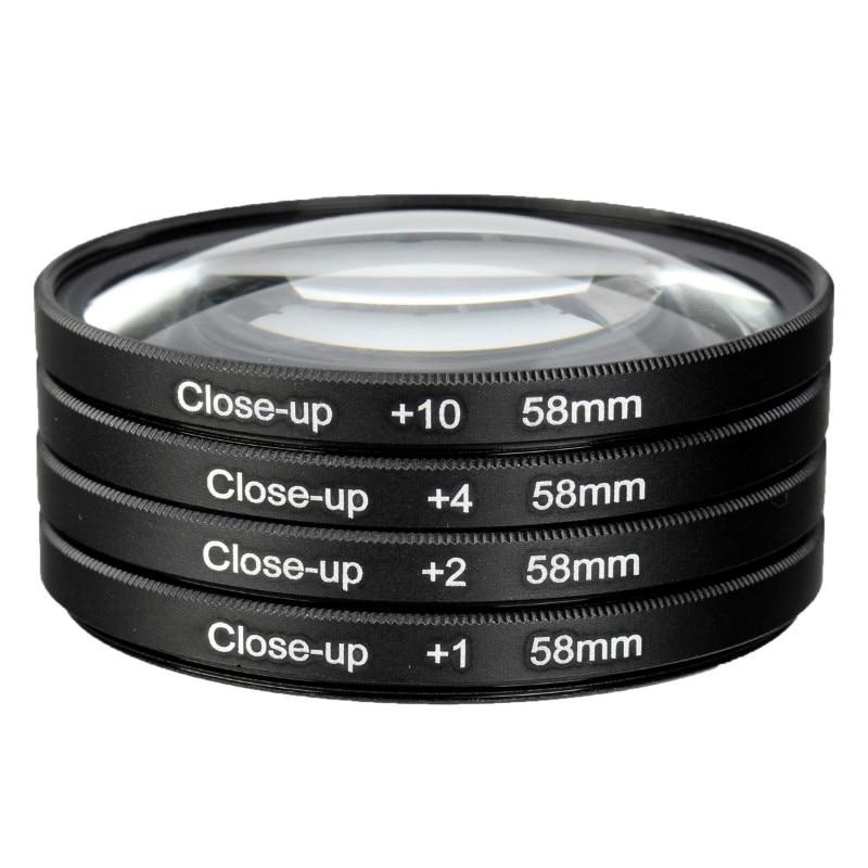 Macchina fotografica 58mm Macro Close Up Lens Filter Kit + 1 + 2 + 4 + 10 per Canon EOS 700D 650D 600D 550D 1100D 100D Rebel T5i T4i 500D1200D Len