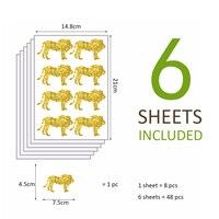 Funlife 1 Pack 6sheets 36pcs Lion Design Glitter Gold Sliver Or Bronze Sticker Decals Sticker For
