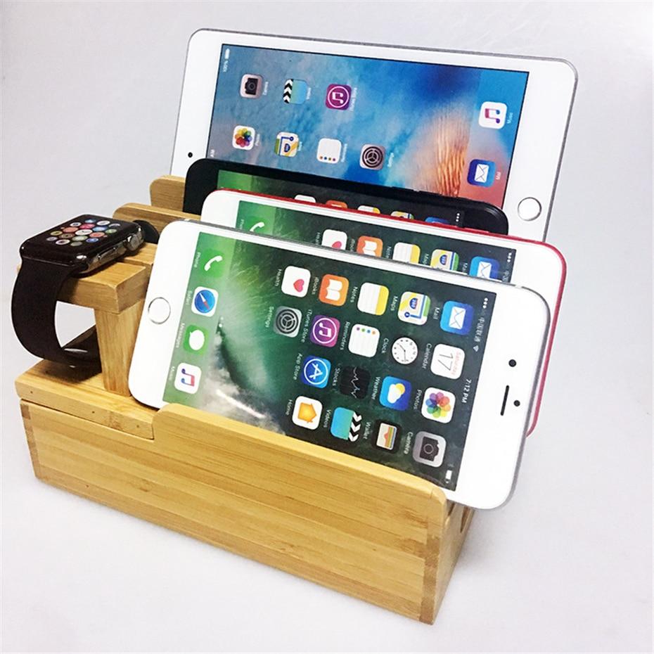 Bois bambou Multi dispositif cordon organisateur support Station de charge support de téléphone portable pour Apple Watch Xiaomi support pour téléphone