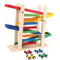 Abacus Building Block Toy bear with four car, Fun Block Board Game Toy, Wooden Educational Toy for Children, Abacus Slippery Car