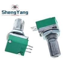 Shengyang amplificador de áudio b10k b20k, 10 peças, amplificador de áudio b50k b100k b500k, potenciômetro selado de 15mm, eixo de 3 pinos rk097n