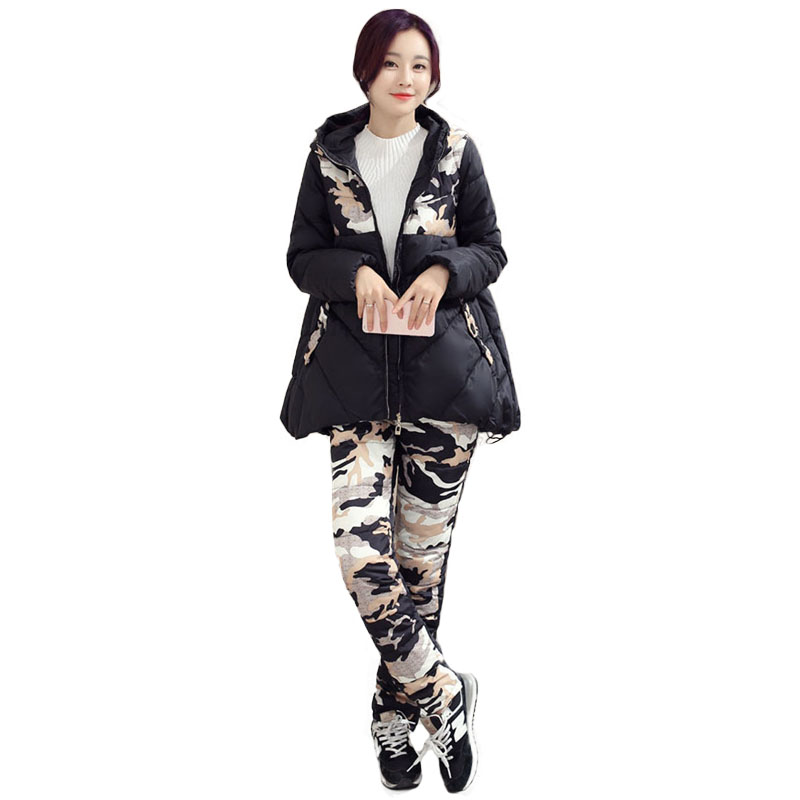 Women Winter Jacket Pants 2 Piece Sets Camouflage Camo Coat Trouser Suits Cotton Wadded Womens Clothing Quilted Jackets Parkas factory outlets 2014 new winter in europe and america women british style stitching cotton quilted jacket short parkas coat