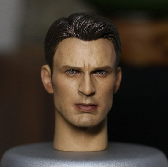 1/6 scale male figure doll accessory Captain America Civil War Chris Evans Rogers Head shape carved for 12 action figure doll 1 6 scale male head sculpts model toys downey jr iron man 3 captain america civil war tony with neck sets mk45 model collecti f