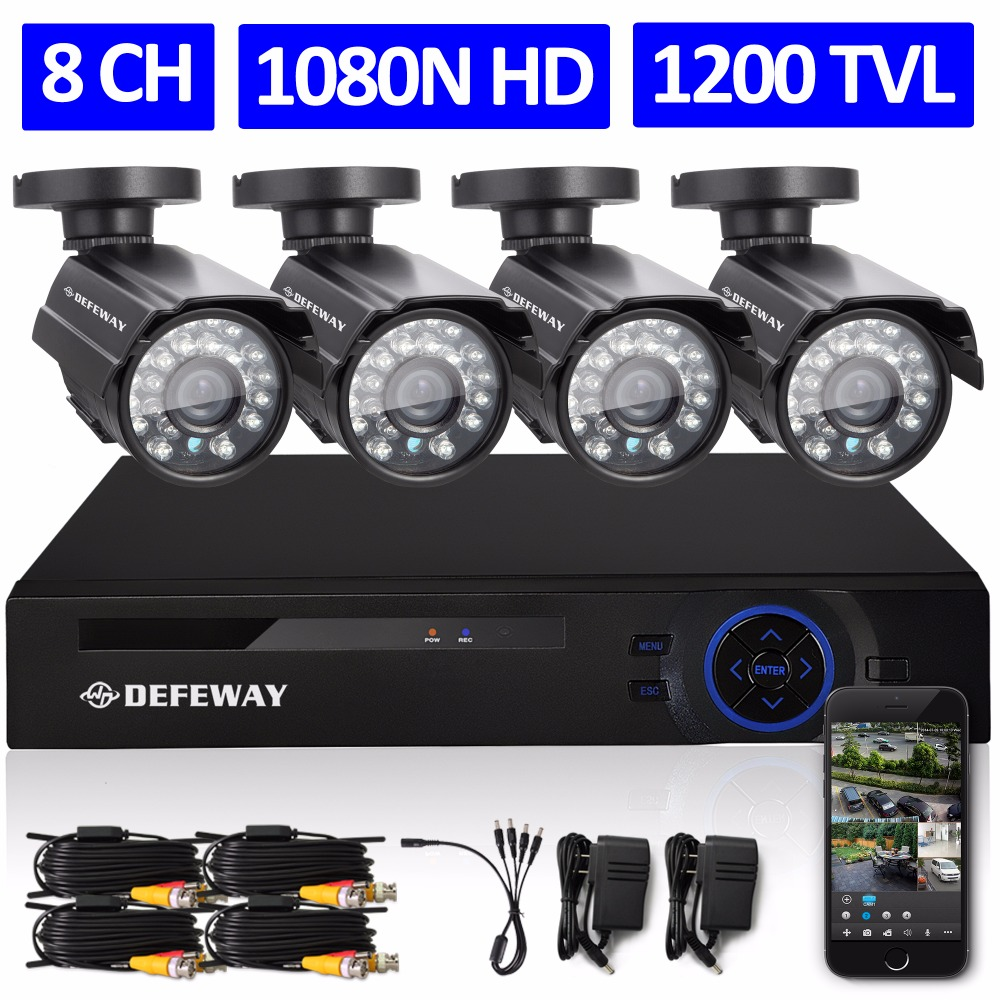 DEFEWAY 8CH 1080N HDMI DVR 1200TVL 720P HD Outdoor font b Security b font Camera System