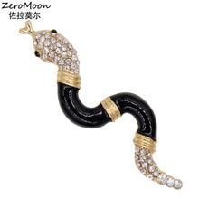 Enamel Snake Brooch Crystal Rhinestone Metal Animal Fashion Jewelry Unisex Accessory Gift