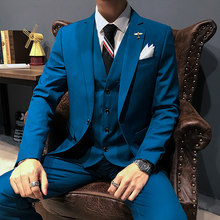 Groom male wedding dance dress slim tuxedo men formal business suit suit 3 pieces (jacket + trousers + vest)(China)