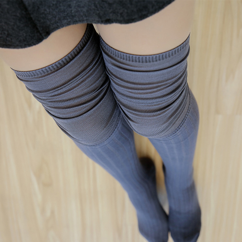 2019 Autumn Women Long Stockings Over Knee Tight Long Socks Fit Twenties Girls Athleisure Wear Keep Warm Stocking Gray Color