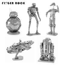 Палец рок 3d металлические головоломки собрать diy r2d2 галстук xwing истребитель Тысячелетний Сокол BB-8 Battle Droid Модель Игрушки Новый Год подарок