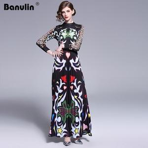 Image 3 - Banulin 2019 Pist Uzun Maxi Elbise Kadınlar Yüksek Kalite Büyüleyici Çiçek Uzun Kollu Patchwork Zarif Vintage Kat Uzunluk Elbise