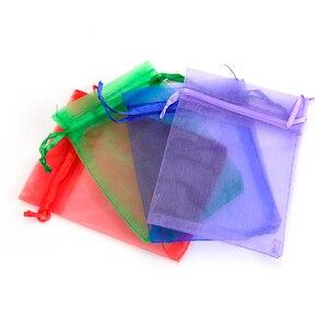 Image 4 - 500 sztuk/partia hurtownie Organza torby 7x9 9x12 10x15 13x18cm marka opakowania ślubne prezent torba Party Decoration biżuteria torby woreczki